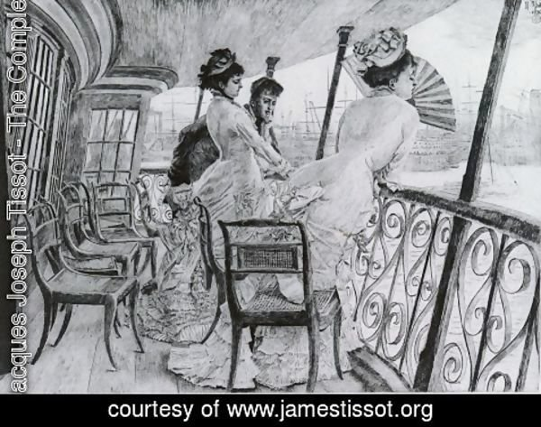 James Jacques Joseph Tissot - La Galerie du 'Calcutta' - Souvenir d'un Bal a Bord (The Gallery of HMS Calcutta - A Memory of an on-board Ball')