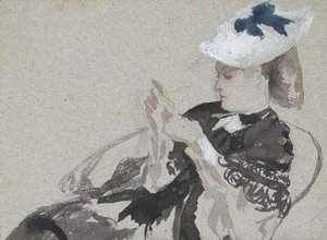 James Jacques Joseph Tissot - A young woman, seated in profie to the left, wearing a hat