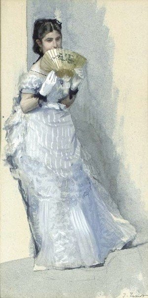 James Jacques Joseph Tissot - Study for 'Too Early'