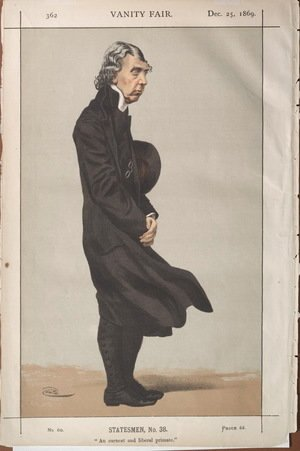 James Jacques Joseph Tissot - Statesmen No.380 Caricature of Archibald Campbell Tait, Archbishop of Canterbury