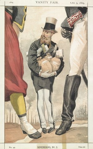 James Jacques Joseph Tissot - Sovereigns No.30 Caricature of Leopold II of the Belgians