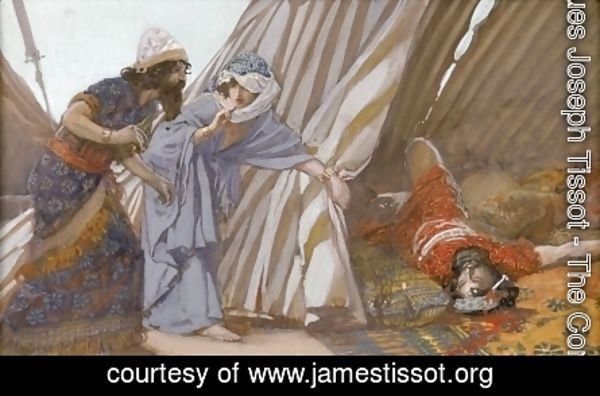 Jael Shows to Barak, Sisera Lying Dead