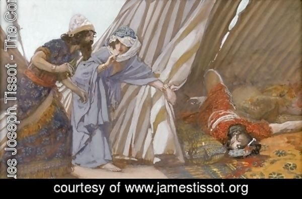 James Jacques Joseph Tissot - Jael Shows to Barak, Sisera Lying Dead