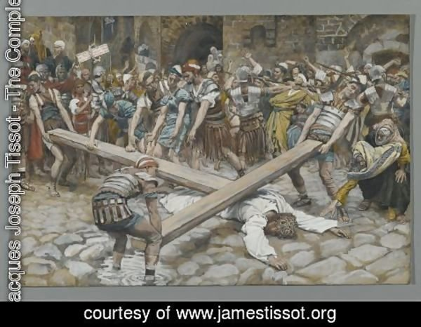 James Jacques Joseph Tissot - Simon the Cyrenian Compelled to Carry the Cross with Jesus (Simon de Cyrene contraint de porter la Croix avec Jesus)