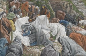 James Jacques Joseph Tissot - The Holy Virgin Kisses the Face of Jesus Before He is Enshrouded on the Anointing Stone