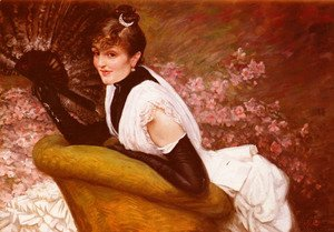 James Jacques Joseph Tissot - Portrait Of A Lady with a Fan