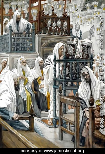 James Jacques Joseph Tissot - Jesus Unrolls the Book in the Synagogue