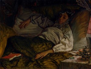 James Jacques Joseph Tissot - A Reclining Lady
