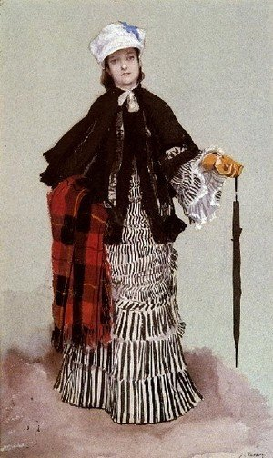 James Jacques Joseph Tissot - AmLady In A Black And White Dress