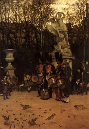 James Jacques Joseph Tissot - Beating The Retreat In The Tuileries Gardens