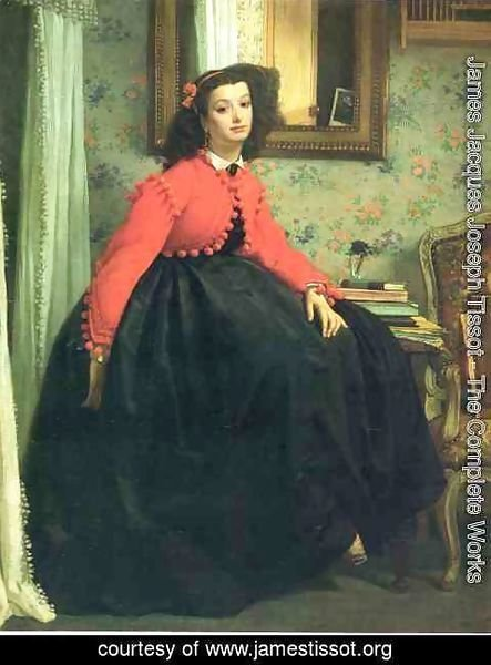 James Jacques Joseph Tissot - Portrait of Mademoiselle L.L. (Young Woman in a Red Jacket)  1864
