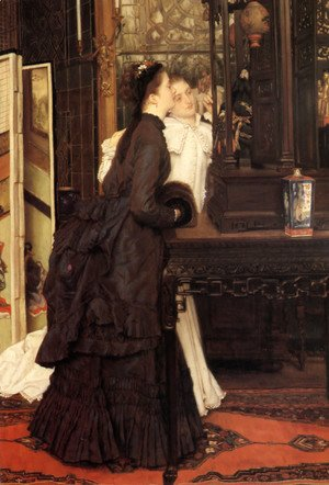 James Jacques Joseph Tissot - Young Ladies Looking At Japanese Objects