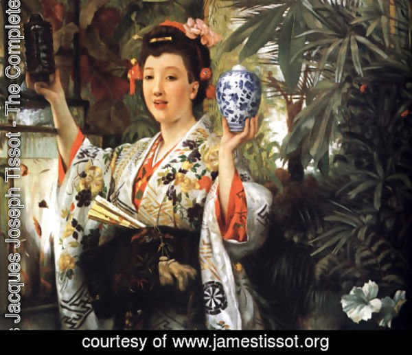 James Jacques Joseph Tissot - Young Lady Holding Japanese Objects