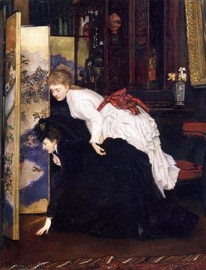 James Jacques Joseph Tissot - Young Women Looking At Japanese Objects 2